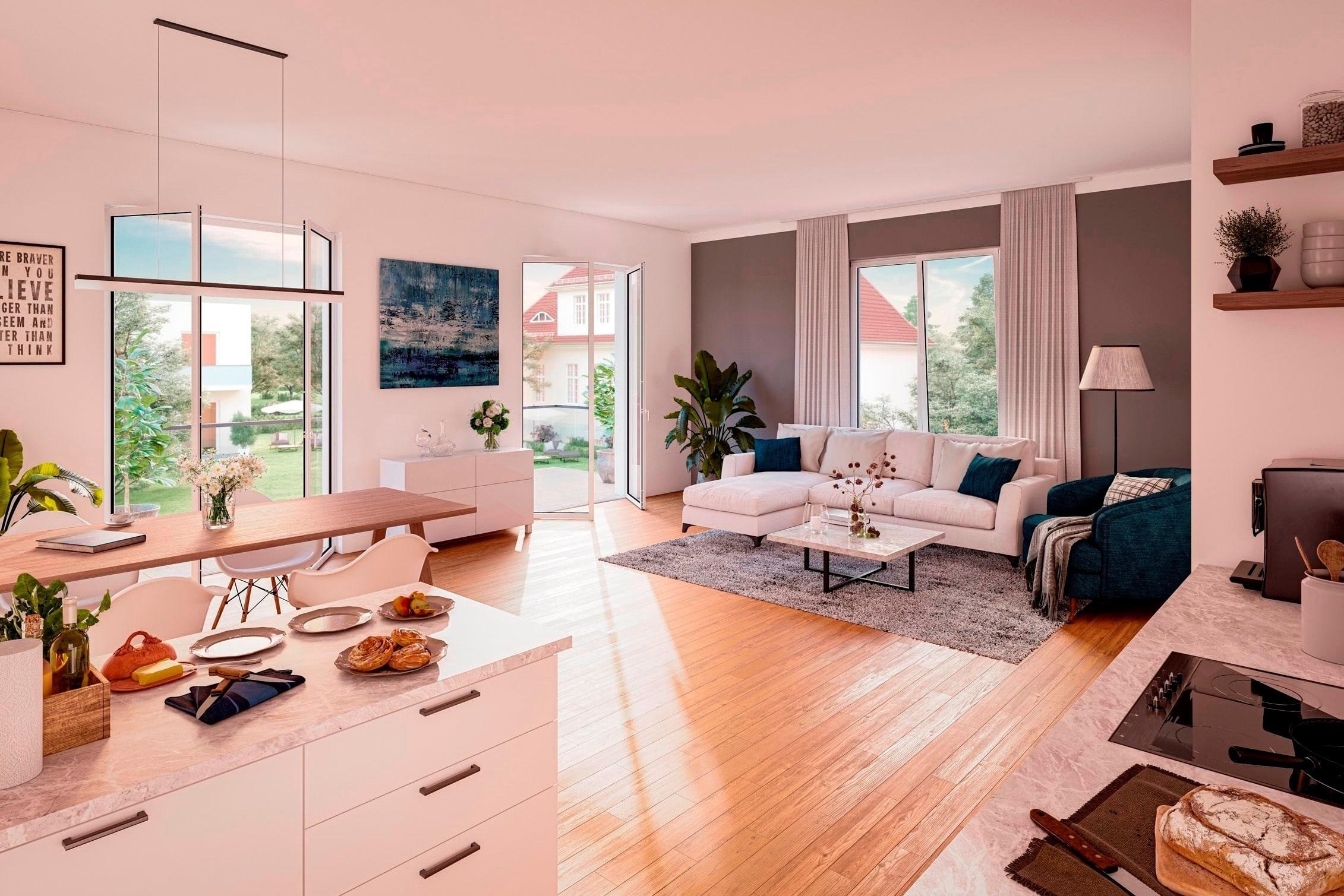 Visualisierung Wohn- / Essbereich und Küche